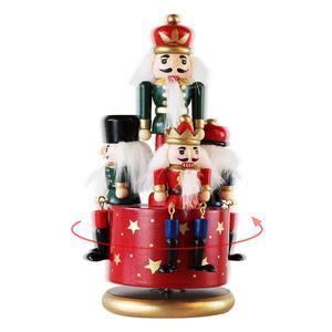 Christmas Music Box Nutcracker Ornament Traditional Music Box Home Decoration Hand-painted Rotating Music Box Puppet Retro Craft
