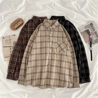 vintage 2021 chic plaid shirts design new stylish pocket long sleeve turn down collar casual loose oversize blouse