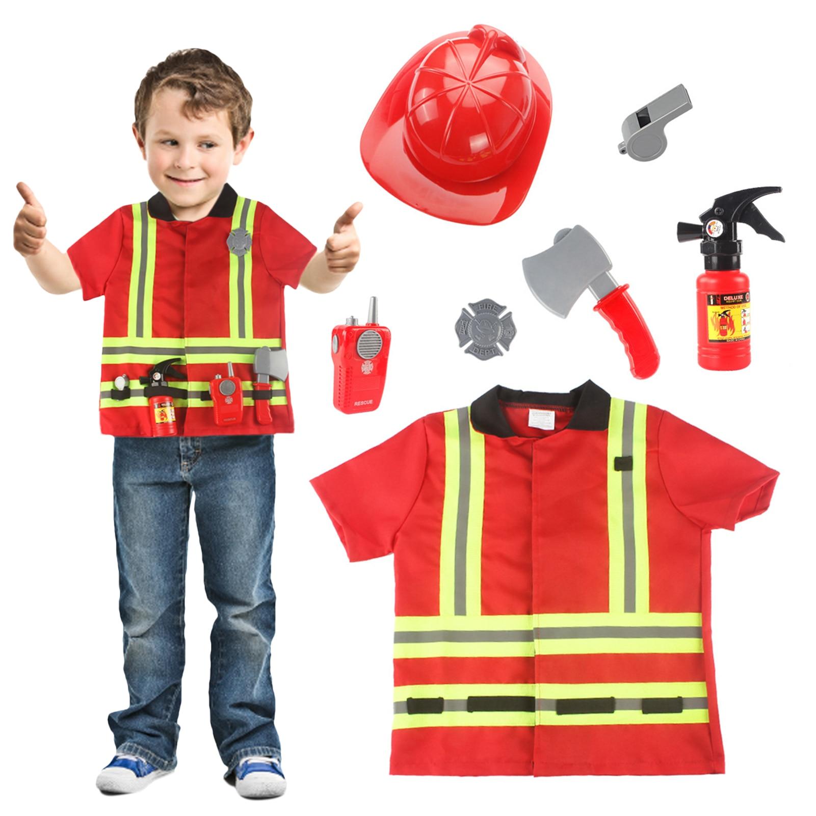 Фото - 7PCS Kids Fireman Costume Movable Visor Pretend Toy Fun Firefighter Role Play Clothes Firefighter Dress Up Role Play Accessories fun boys girls mini telephone developmental toy role play pretend toy communication equipment