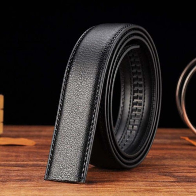 120x3.5cm Business Style PU leather Men's Automatic Ribbon Black Waist Strap Belt Without Buckle Luxury Women High Quality