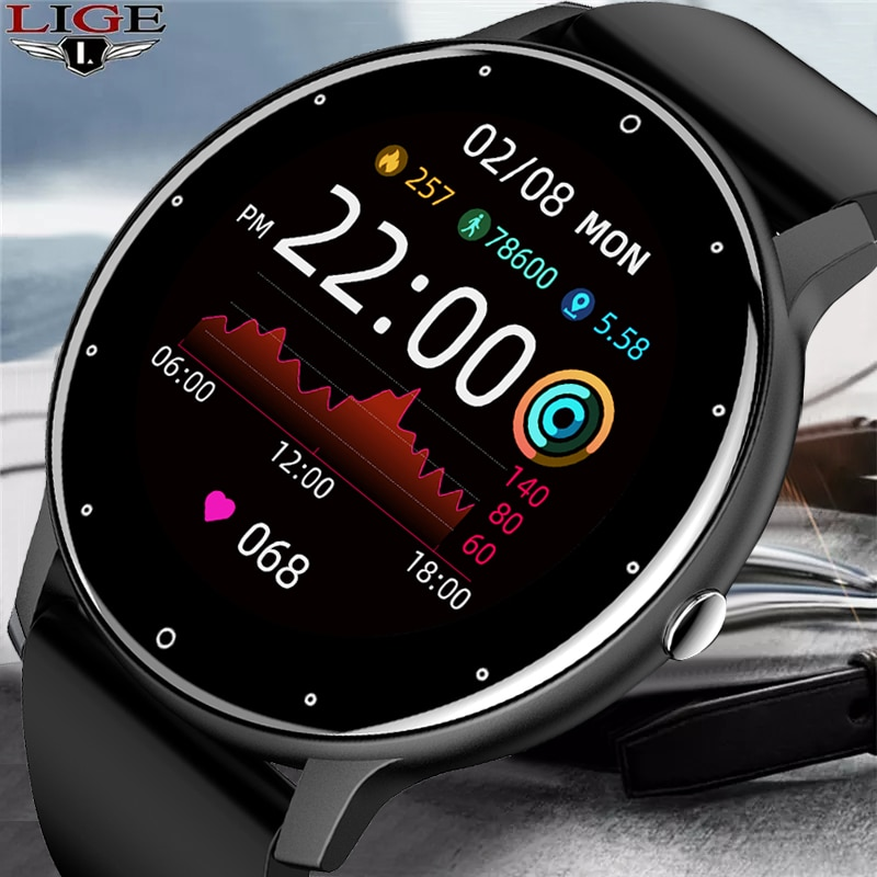 LIGE 2021 جديد ساعة ذكية الرجال كامل شاشة تعمل باللمس الرياضة اللياقة البدنية ساعة IP67 مقاوم للماء بلوتوث ل أندرويد ios smartwatch الرجال + صندوق