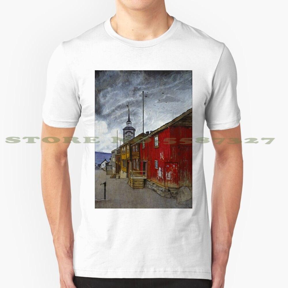 Модная футболка с крутым дизайном от Harald Sohlberg Street In Roros, футболка для художников 19-го века 19-го века 20-го века