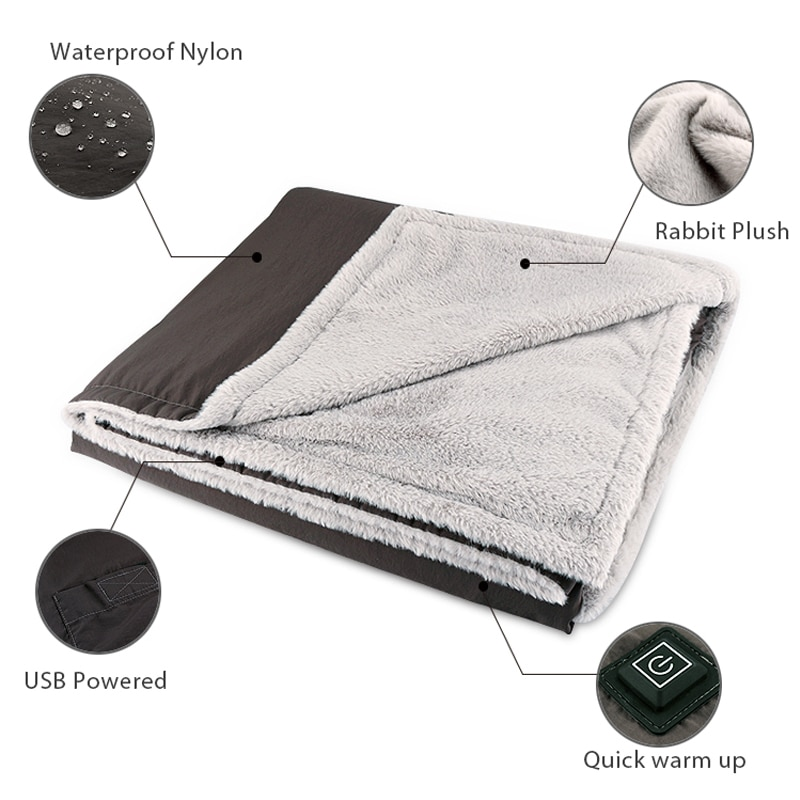 Portable Wireless Heated Electric Throw Blanket-Rechargeable Lithium Battery with USB Port for Travel Camping Outdoor Use enlarge