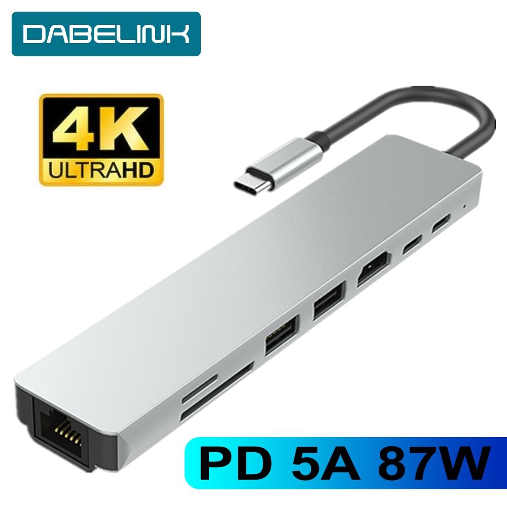 Тип C к HDMI концентратор USB C 4K PD 5A 87W док-станция Rj45 Lan USB 3,1 сплиттер USB-C аксессуары для доставки питания Для iMac air MacBook Pro