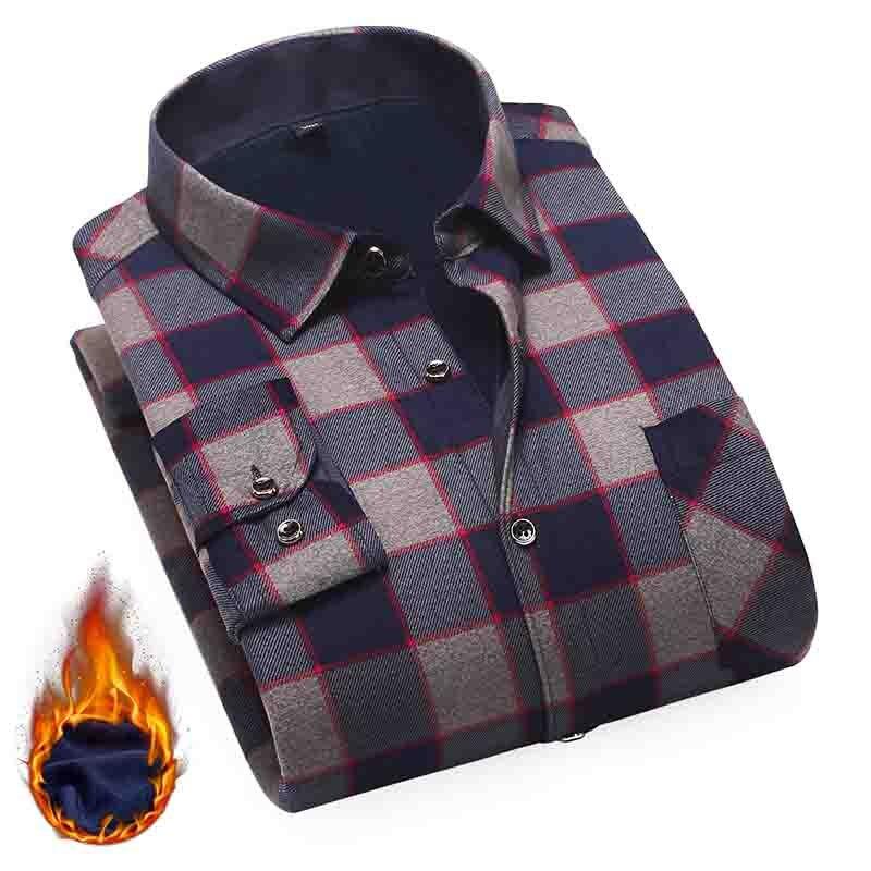 Рубашка Aoliwen Мужская в полоску, Модная хлопковая теплая Повседневная деловая рубашка с длинными рукавами, фланелевая рубашка, зима 2020