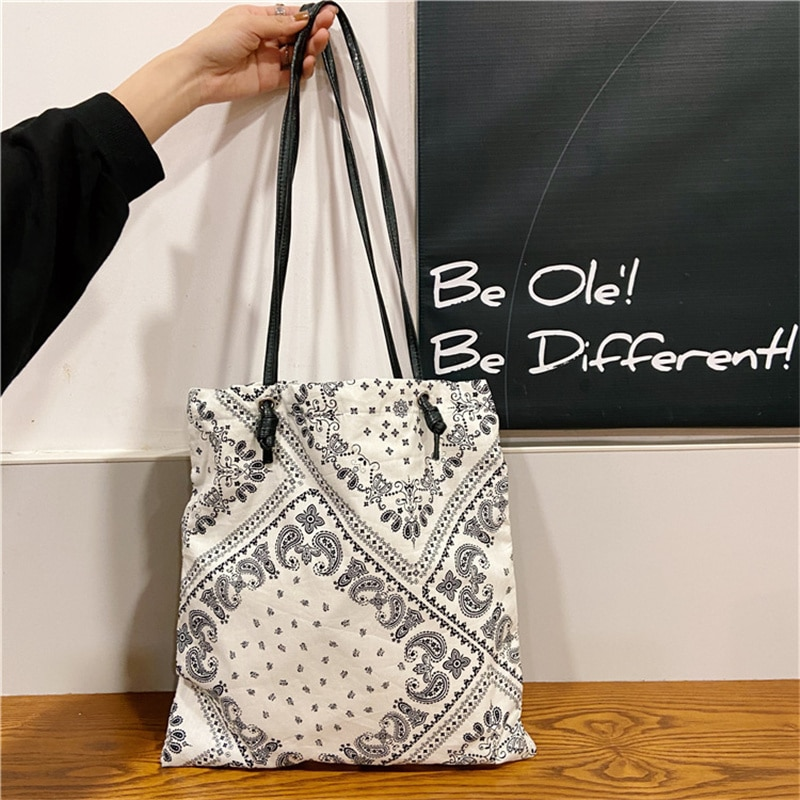 Women Canvas Shoulder Bag Vintage Pattern Ladies Shopping Bags Cotton Cloth Fabric Grocery Handbags Tote Books Bag for Girls