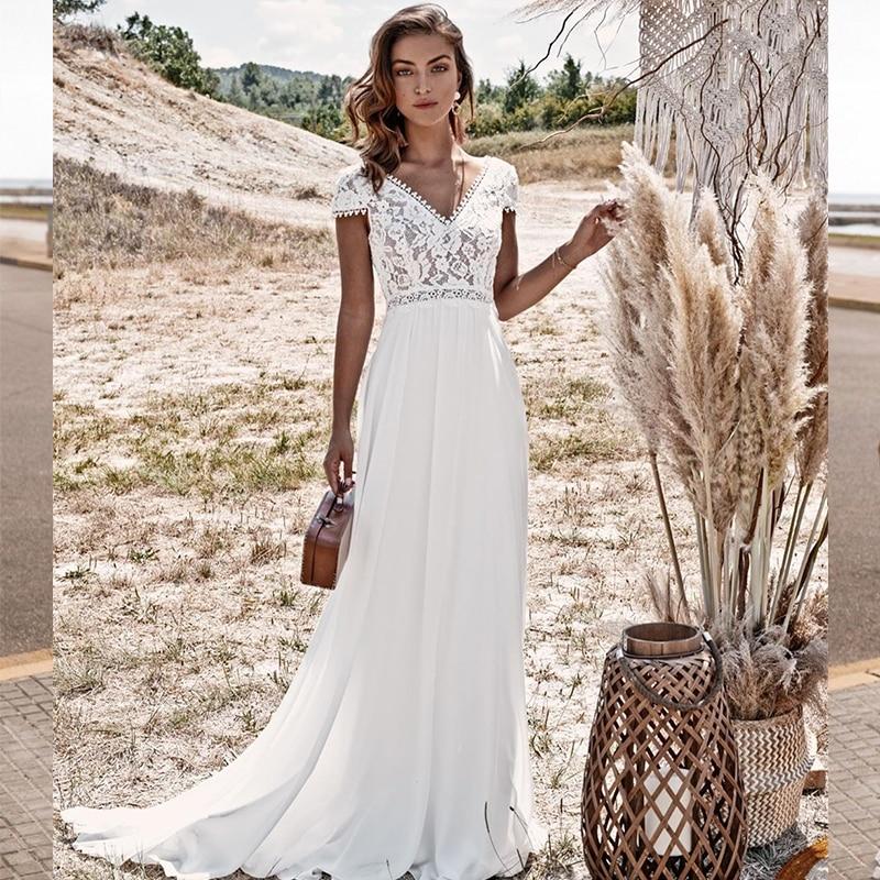 Bohemian Wedding Dress  Vintage Lace Boho 2021 A-Line Simple Beach Bridal Gowns Chiffon Floor Length V-Neck Brush Train Backless