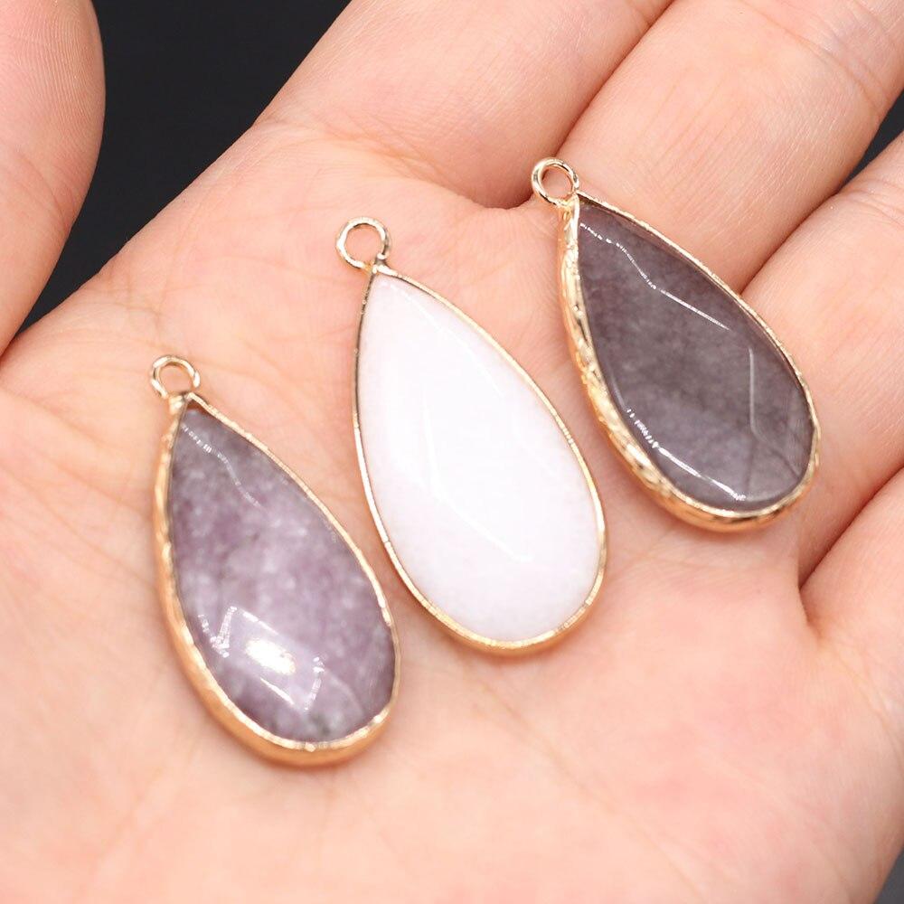 Pedra natural pingente gota de água facetada pingente 2 pc/pacote para as mulheres jóias acessórios fazendo colar brinco tamanho 16x35mm