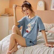BZEL printemps vêtements de nuit femmes ensembles bleu Pyjamas belle femme vêtements de maison doux vêtements de nuit en coton manches courtes Pyjamas Pijama M-XXL