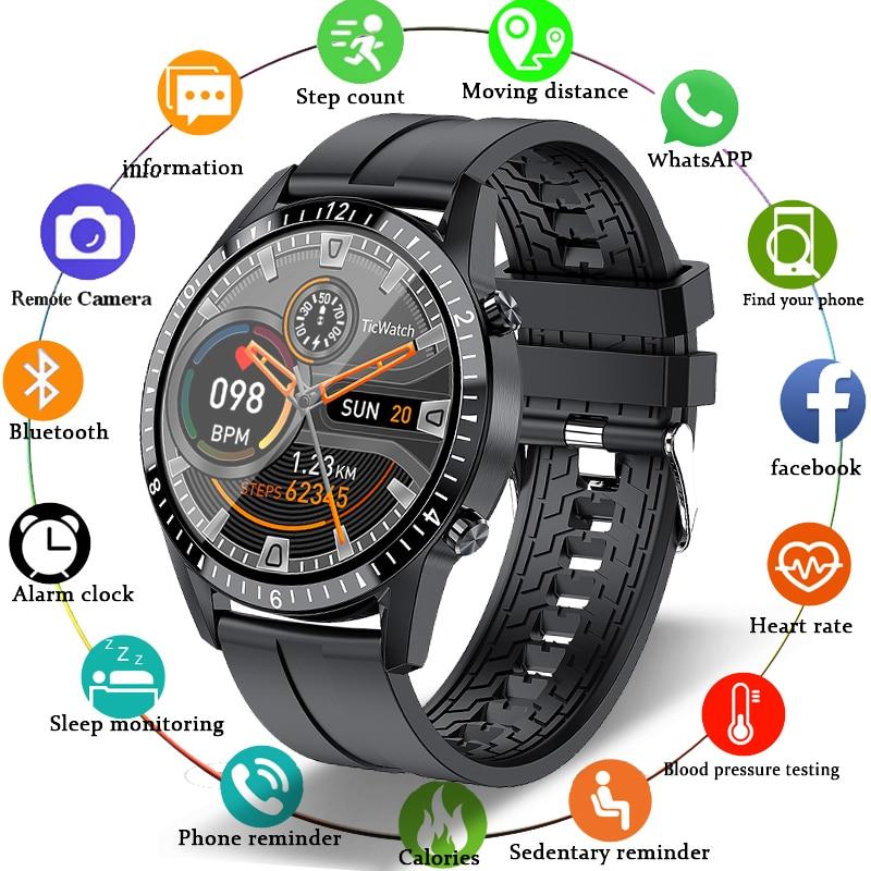 LIGE هاتف ساعة ذكية شاشة تعمل باللمس كامل الرياضة اللياقة البدنية ساعة IP68 مقاوم للماء اتصال بلوتوث للرجال أندرويد ios smartwatch
