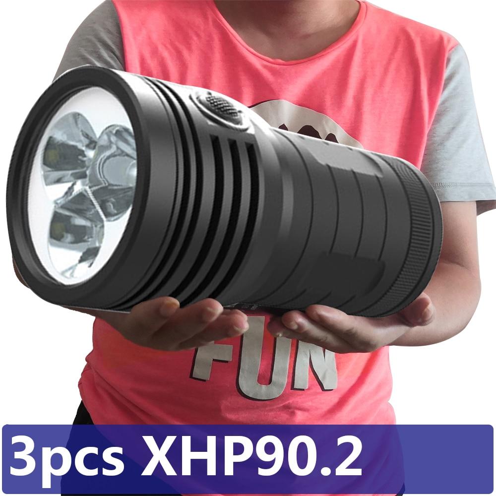 3 قطعة XHP90.2 الأكثر إشراقا Led مصباح يدوي 3 وضع الشعلة USB قابلة للشحن بنيت في 18650 بطارية Powerbank وظيفة فانوس