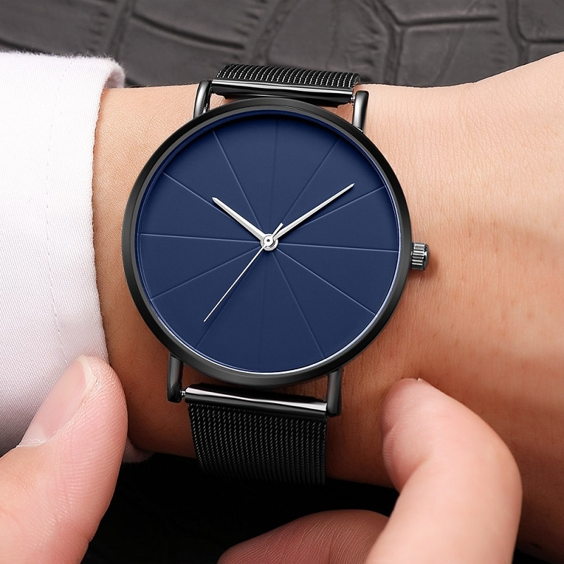 Модные роскошные мужские и женские часы, кварцевые повседневные наручные часы для женщин, для пары, сетчатый ремешок, ультра тонкие часы с ц...