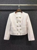 2021 new women fashion round neck double breasted symmetrical pockets long sleeved woolen short coat 731