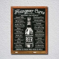hangover cures around the worl tin sign metal sign metal poster metal decor metal painting wall sticker wall sign wall decor