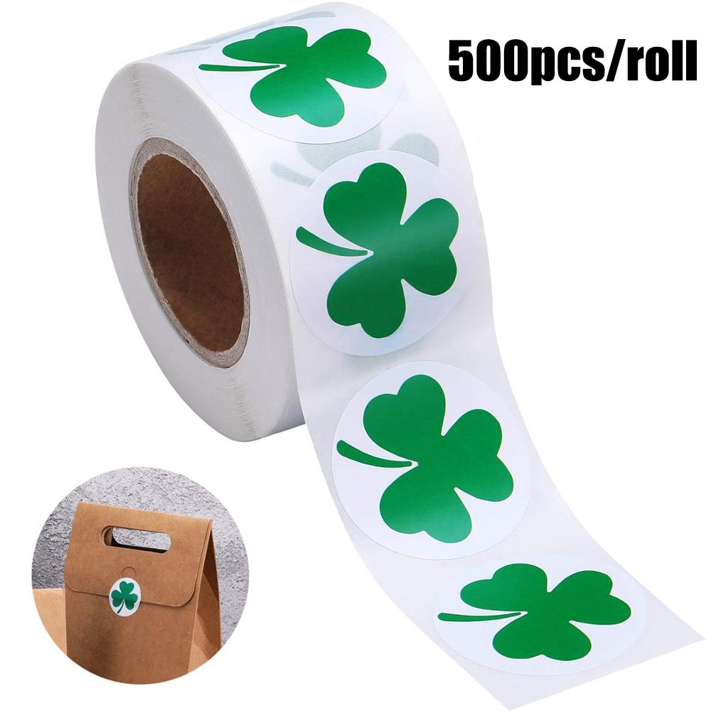500pcs labels St. Patrick's Day Stickers Shamrock Roll Stickers 1Inch Adhesive Label for kids Decoration and stationery sticker