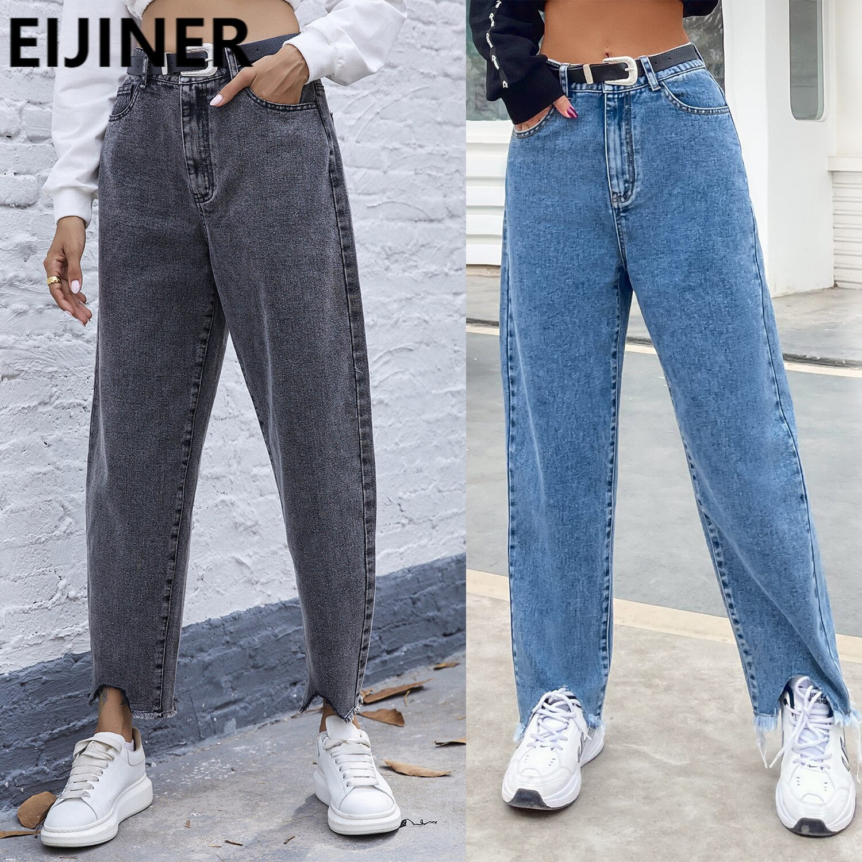 Straight Y2K Baggy Wide Leg Jeans Women's Fashion High Waist Gray Vintage Streetwear Irregular Boyfriend Denim Pants Spring 2021
