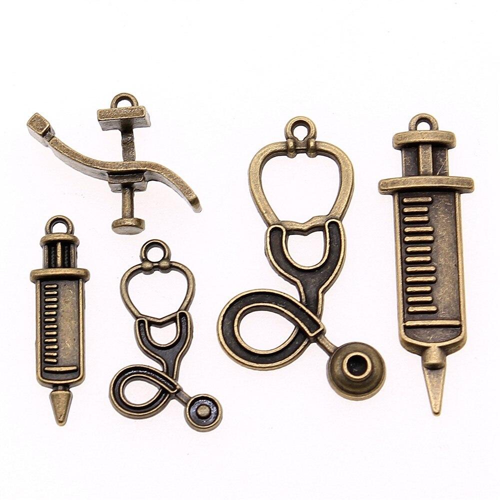 10 sztuk/partia Charms dentyści łóżko do tworzenia biżuterii akcesoria Antique Bronze Plated strzykawka urok stetoskop urok
