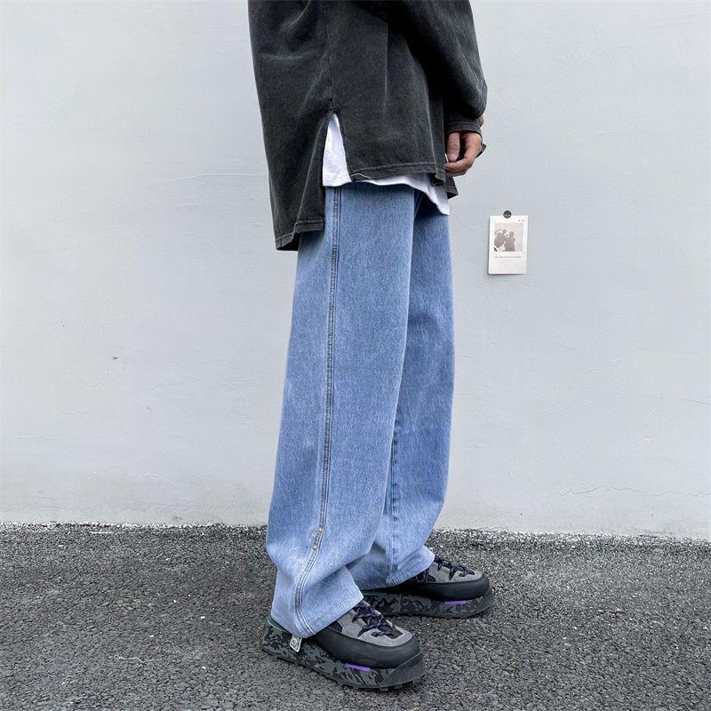 Korean Wide-leg Jeans Men's Fashion Retro Harajuku  Men Streetwear Loose Hip-hop Straight-leg Denim Trousers Mens M-2XL