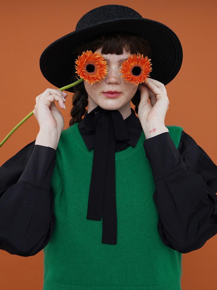 2021 Original Design Autumn and Winter Women Vintage Short O Neck Knitted Vest enlarge
