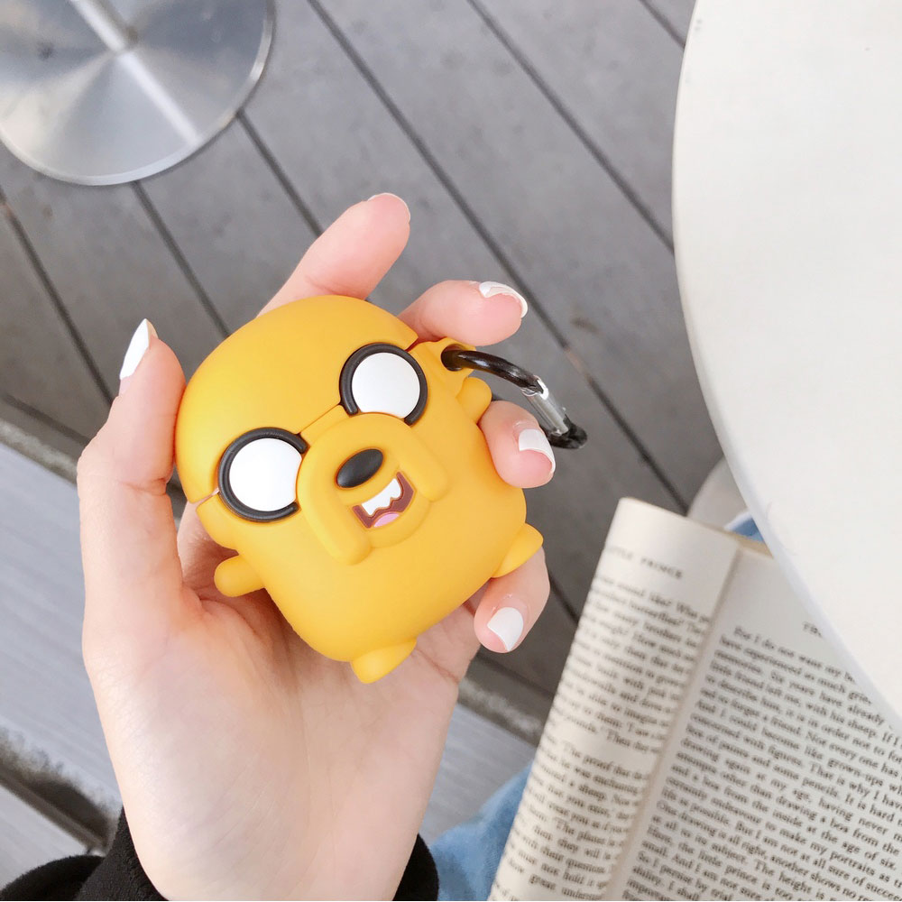 Funda de silicona de lujo para AirPods 1 2 Adventure Time Cute Jake The Dog auriculares Bluetooth funda protectora con gancho