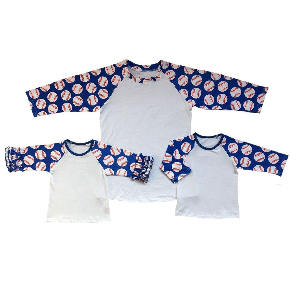 Mommy & Me azul béisbol 4 de Julio poliéster sublimación camiseta camo sandía raya naranja buffalo raglans camisetas