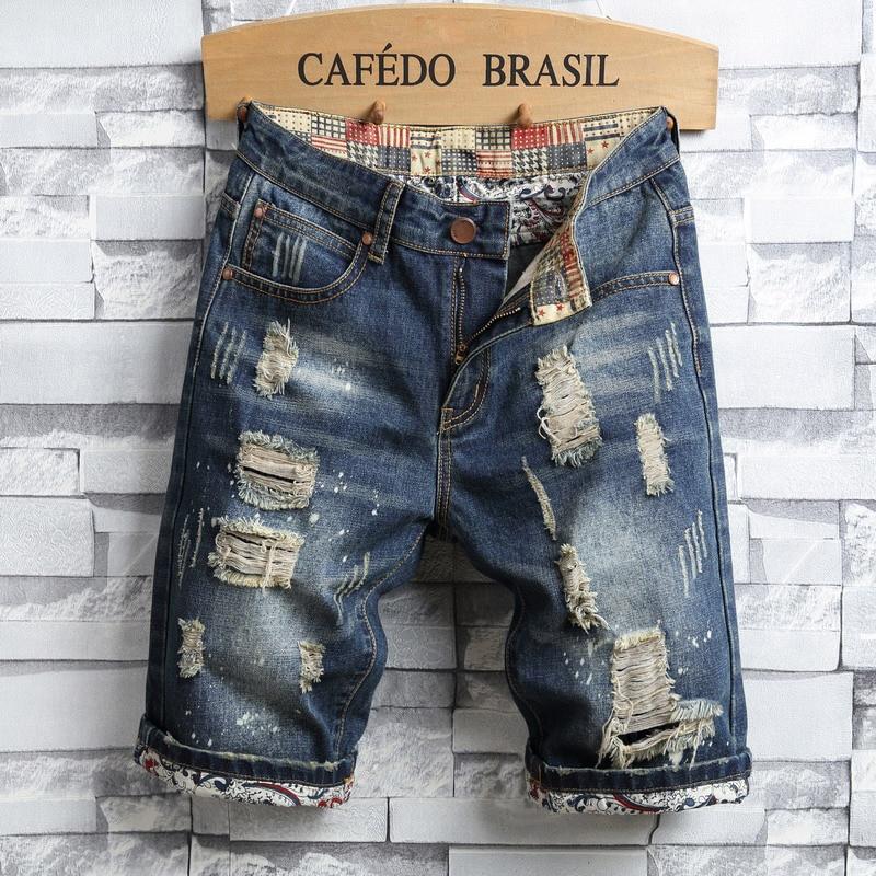 2020 Summer New Men's Ripped Short Jeans Streetwear Fashion Retro Cotton Denim Shorts Male Brand