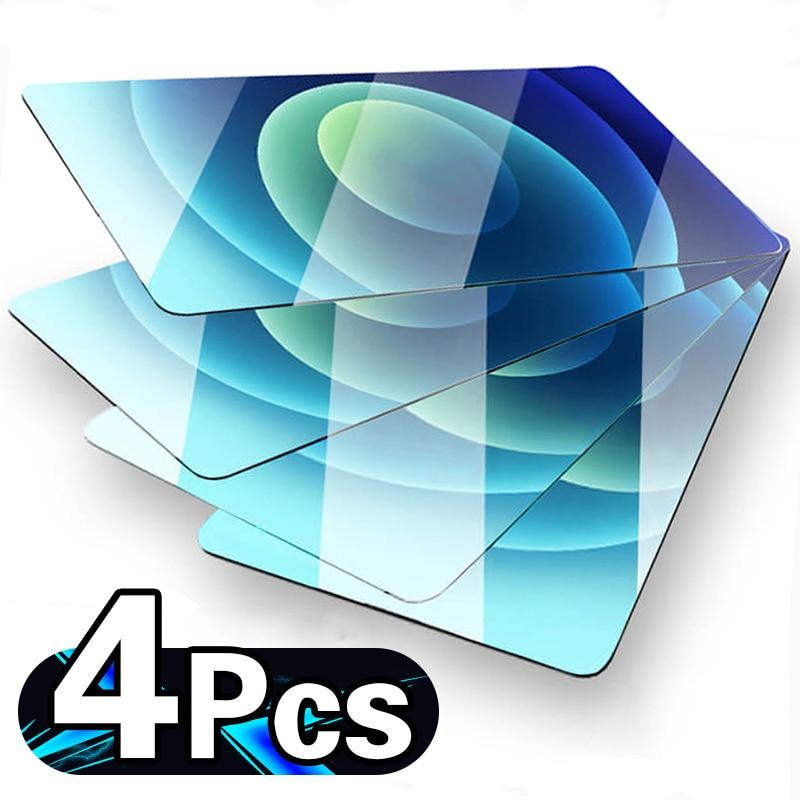 Couverture de protection pour téléphone en verre trempé, protecteur d'écran, coque complète, pour iPhone 11 12 Pro Max 12 mini X XR XS Max 6 7 8, 4 pièces