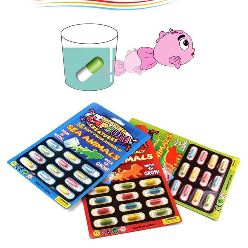 Бесплатная доставка, 12 шт., расширяемая пена, морские животные, капсульные игрушки для детей, раннее образование, детские подарки на день рож...