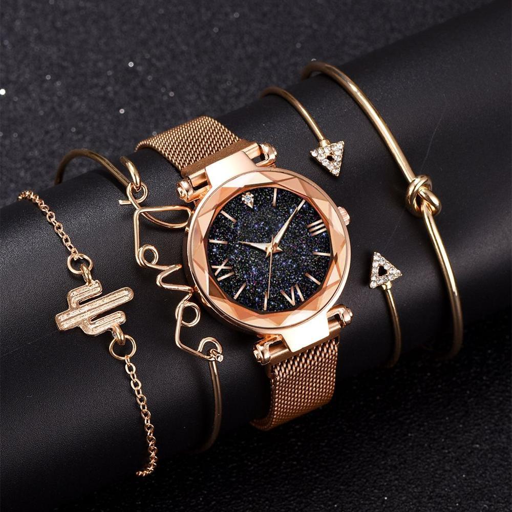 5 звездных комплектов роскошных женских часов, магнитных звездных небов, женских часов