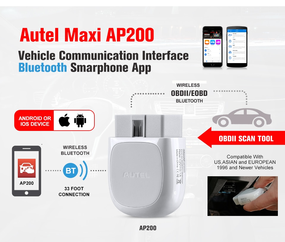 Autel AP200 Bluetooth OBD2 Scanner Code Reader AP 200 Full Systems Diagnoses AutoVIN TPMS IMMO Family DIYers PK MX808