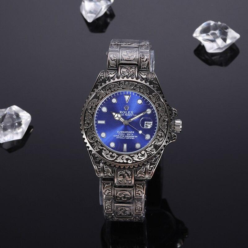 2020 venda quente rolex-submariner-luxo aço banda relógio masculino moda casual senhoras relógio de quartzo presentes aaa4