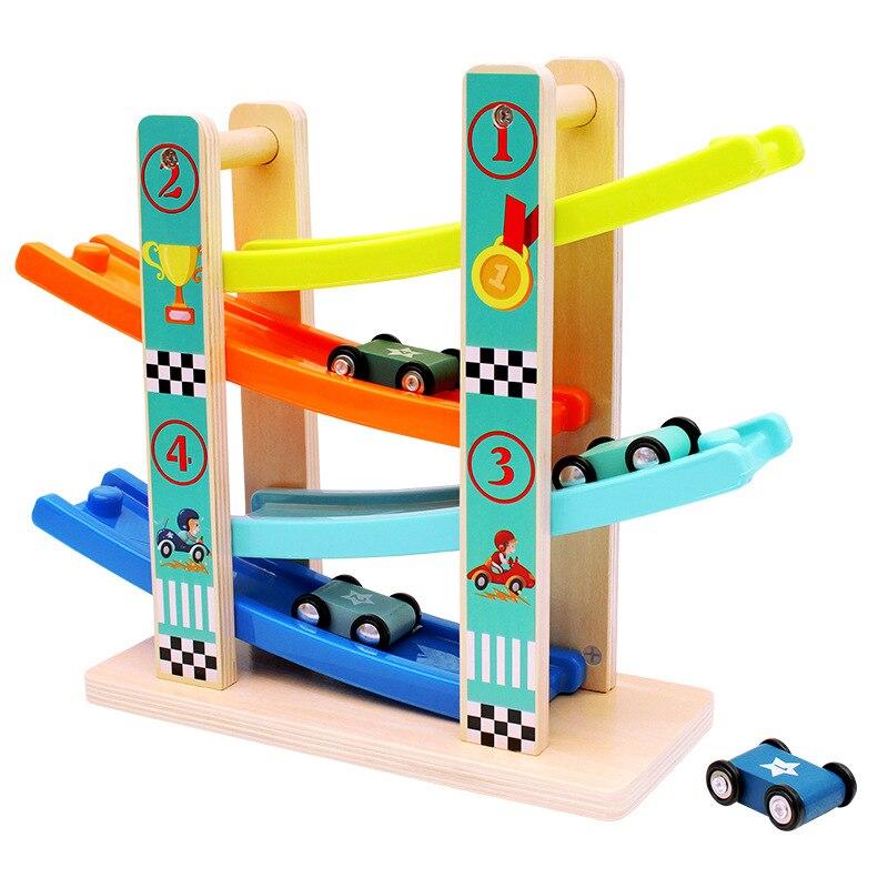 Coche brillante de juguete para niños de 1 a 2 años de edad, regalos para niños y niñas, pista de carreras de madera, coche rampas Racer con 4 Mini coches
