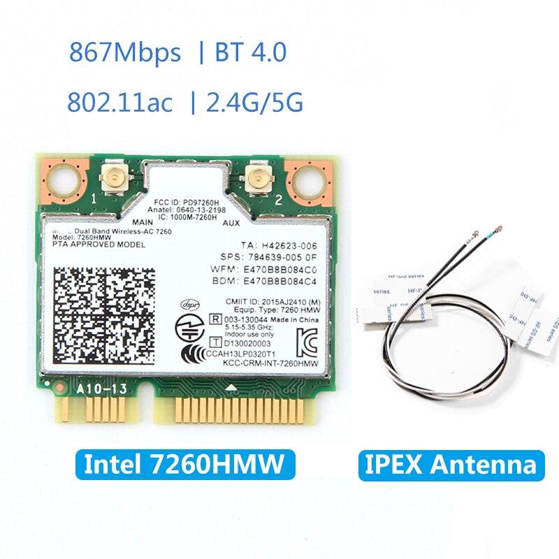 Bezprzewodowa karta PCI-E 7260HMW dla Intel AC 7260 dwuzakresowy 867 mb/s 802.11ac 2.4G/5G Bluetooth 4.0 + 2x U.FL antena IPEX