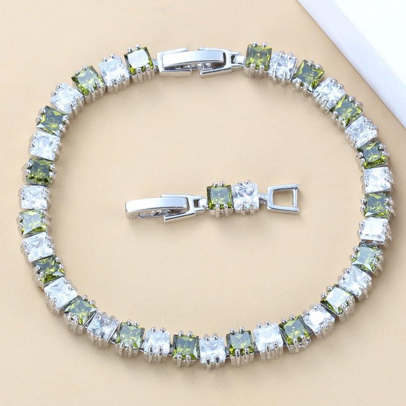 Impressive Olive Green Cubic Zirconia Women Jewelry 925 Silver Link Chain Bracelet Length 18+3CM Fashion Health Costume