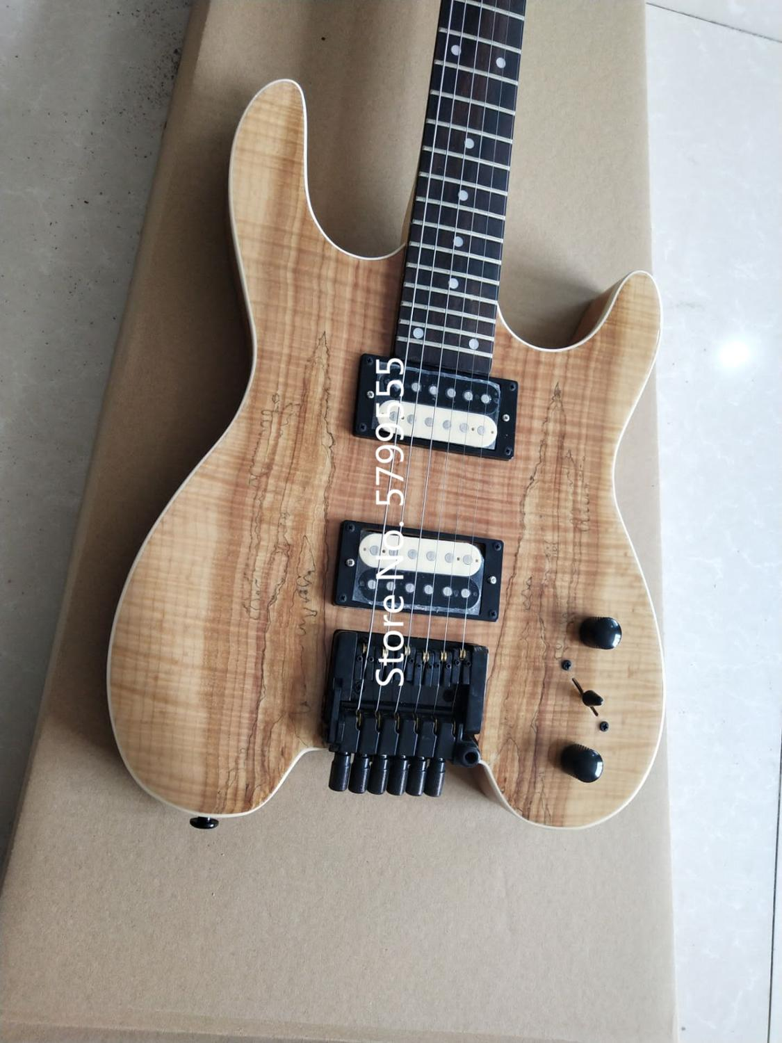 New 6-string headless electric guitar, crafted, multi-color optional, flame maple veneer, rosewood fingerboard, free shipping enlarge