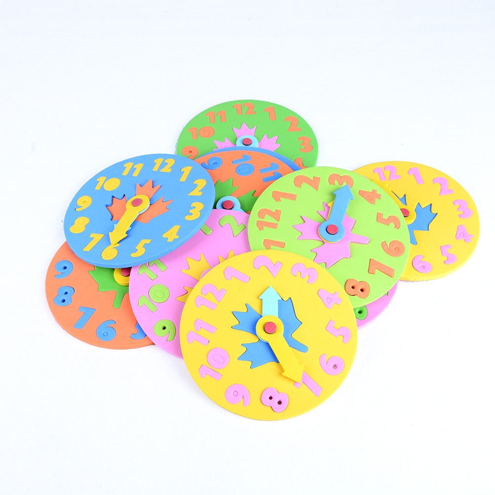 1PCS Kids DIY Eva Clock Learning Education Toys Fun Jigsaw Puzzle Game for Children Baby Toy Gifts 3