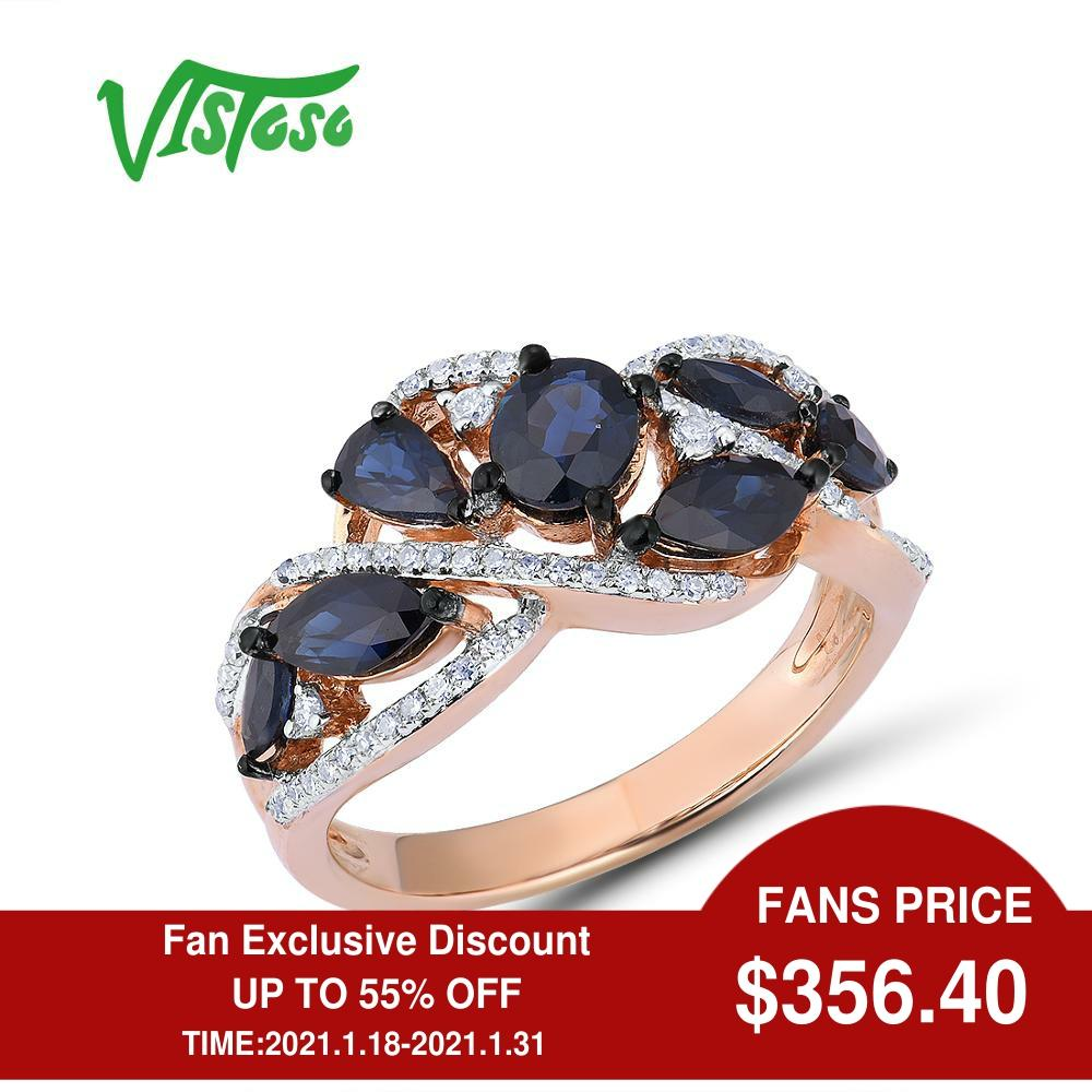 Showful-585 خاتم من الذهب الوردي عيار 14 قيراطًا مرصع بالألماس والياقوت الأزرق ، مجوهرات راقية ، للنساء