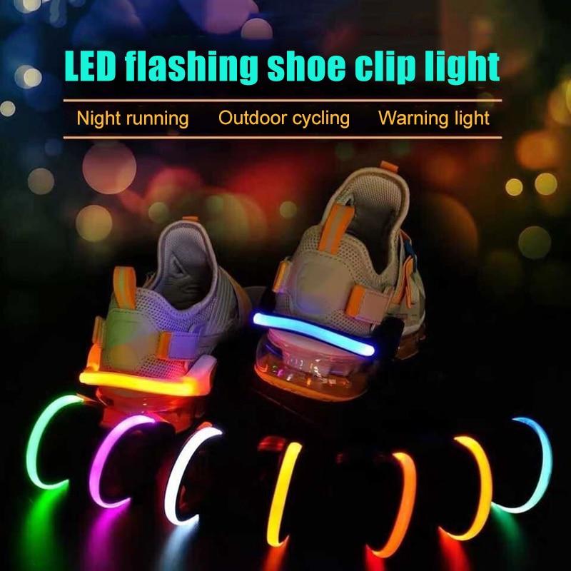 H Outdoor Running Light LED Luminous Shoe Clip Light Night Safety Warning Bright Flash Light Sports Bike Shoe Clip Light MVI-ing