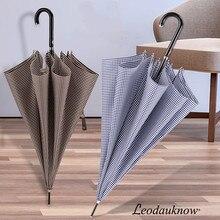LEODAUKNOW marca de moda clásica de paraguas Delgado curvo mango brillante diseño a cuadros de las mujeres y los hombres es semiautomática paraguas
