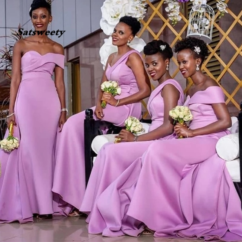 Elegant One Shoulder Lilac Bridesmaid Dresses Mermaid Style 2021 Simple Satin Long Women Party Gowns Robe De Soiree Cheapest