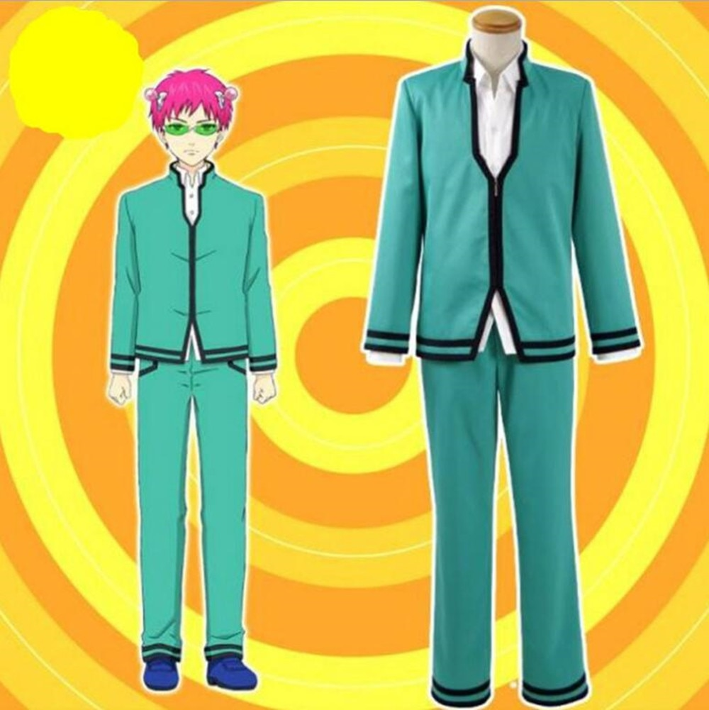Costume Anime The Disastrous Life of Saiki K. Cosplay Saiki Kusuo no Sainan School Uniform Cos Cloth + Shirt + Pant+Wig