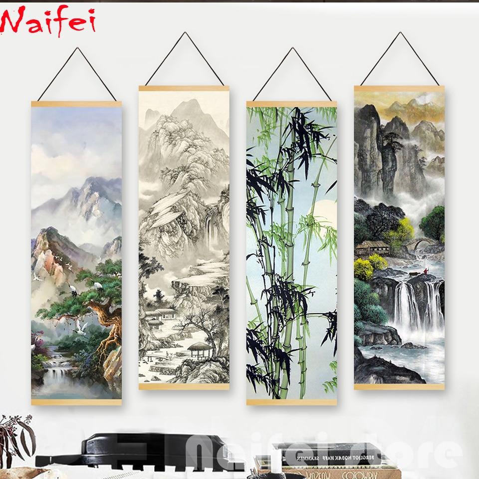 "Diy diamante pintura completa cuadrada/redonda ""pintura de paisaje chino con tinta arte de agua"" para 5d bordado de diamantes para decoración del hogar regalo"