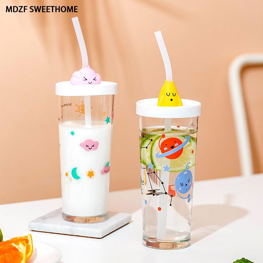 MDZF decoloración vaso de paja de vidrio por encima de 40 ℃ jugo leche café botella con escamas portátil de dibujos animados botella de agua regalo Childen