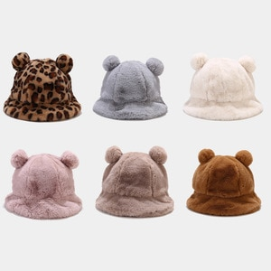 2021 New Autumn Winter Bucket Hats for Women lady Hat with ears outdoor keep warm thick soft plush Panama Cotton Cap