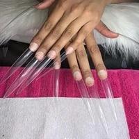 10pcsbag extra long sharp stiletto fake nail tips full cover naturalclear false pointy nails sharp gel acrylic set