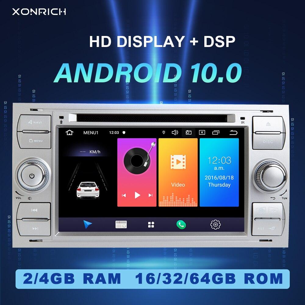 2 din android 10 rádio do carro gps dvd para ford focus 2 ford fiesta mondeo 4 c-max s-max fusão trânsito kuga multimídia navegação