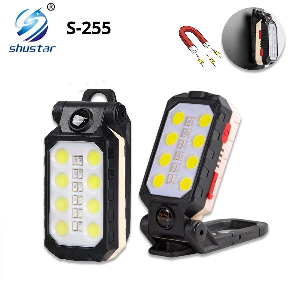 USB Rechargeable COB Work Light Portable LED Flashlight Adjustable Waterproof Camping Lantern Magnet Design Powered Display