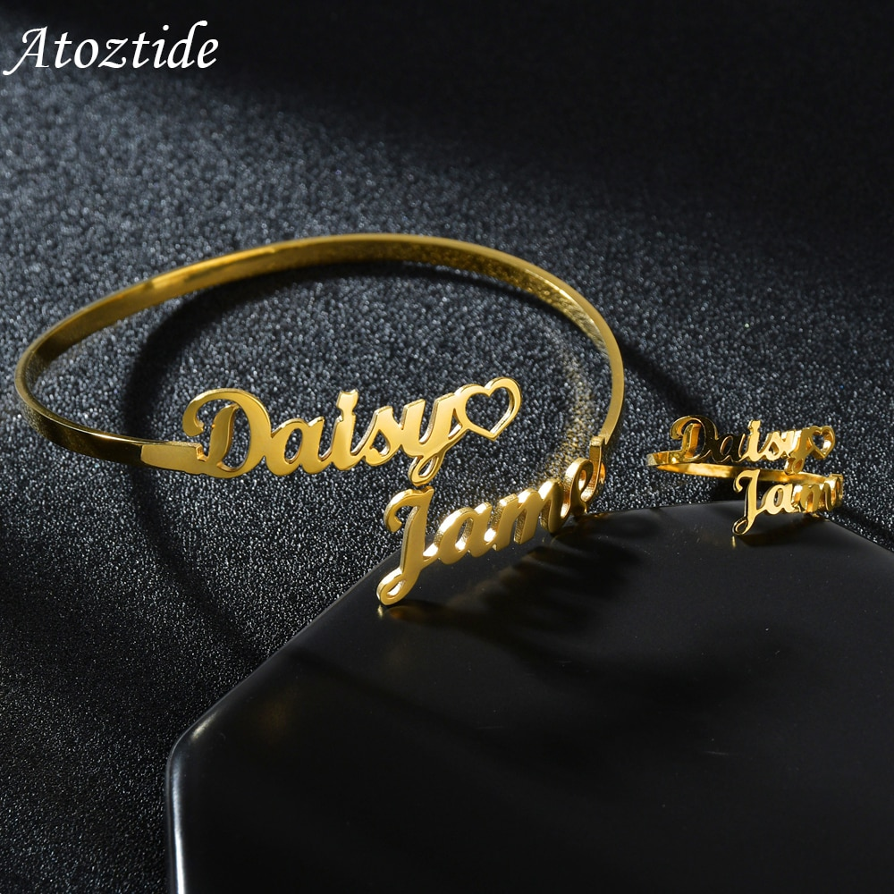 Atoztide New Personalized Custom Double Names Bangle and Ring For Women Stainless Steel Open Heart