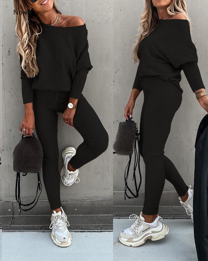Ladies Long sleeve 2 Pieces Sets Women Fashion Solid Outfits Spring Autumn Sets Slash Neck Suits Streetwear Joggers Tracksuit