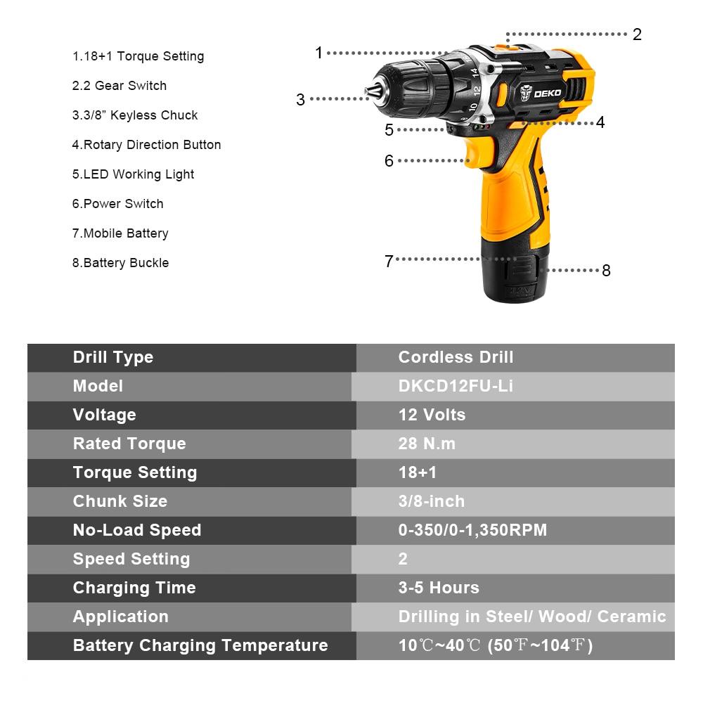 12V / 16V / 20Vコードレスドリル電動ドライバー、18 + - パワーツール - 写真 3